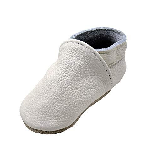 - iEvolve Baby Leather Shoes Soft First Walker Shoes Crib Shoes Moccasins for Toddlers(Pure White, 12-18 Months)