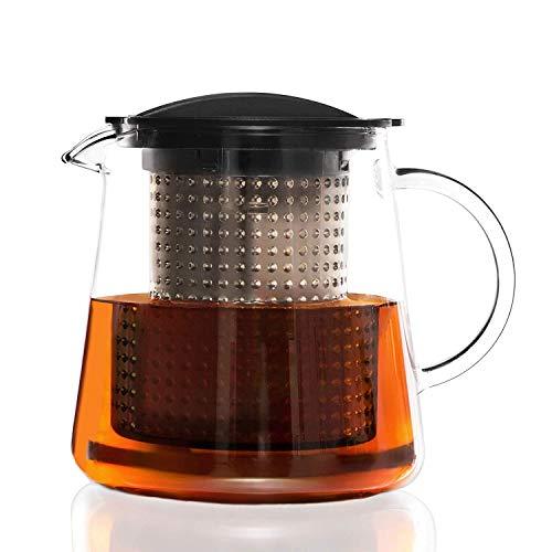 finum Tea Control System Glass Brewing Pitcher, 28 oz, Black (Pack of 6)