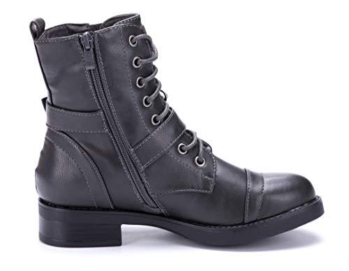 Boots Stiefeletten Blockabsatz cm 4 Reißverschluss Grau Schuhtempel24 Stiefel Klassische Schuhe Schnalle Damen qnwnXBA4H