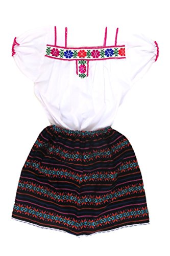 Embroidered Poplin Skirt - Mexican Clothing Co Baby Girls Mexican Costume Embroidered Blouse n Skirt Poplin CT 12M Black 5882