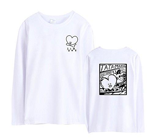 Gogofuture T Top Bangtan Animato Bts Popolare Lunga Per Manica Donne Tshirts Boys Unisex Classico Rotondo White E shirt Kpop Collo Uomo Cartone rFqrwIgA