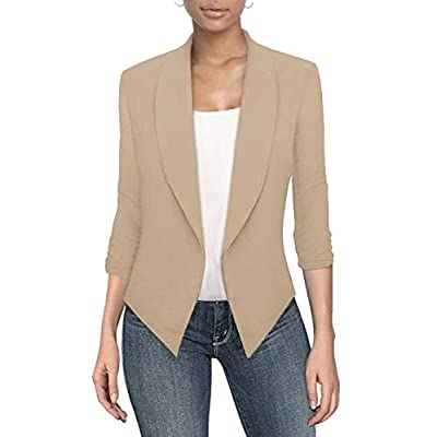 Hybrid & Company Womens Casual Work Office Open Front Blazer Jacket Made in USA at Women's Clothing store