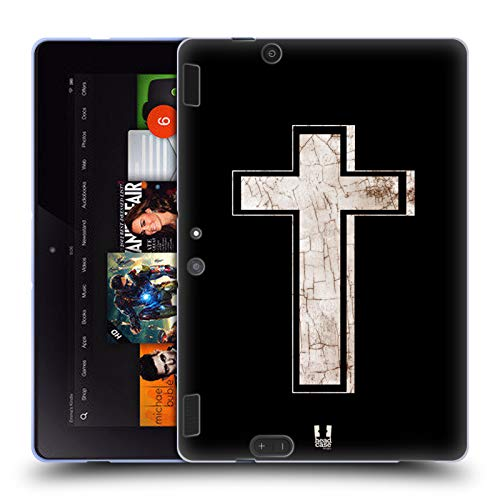 Head Case Designs Porcelain Textured Cross Prints Soft Gel Case for Amazon Kindle Fire HDX 8.9