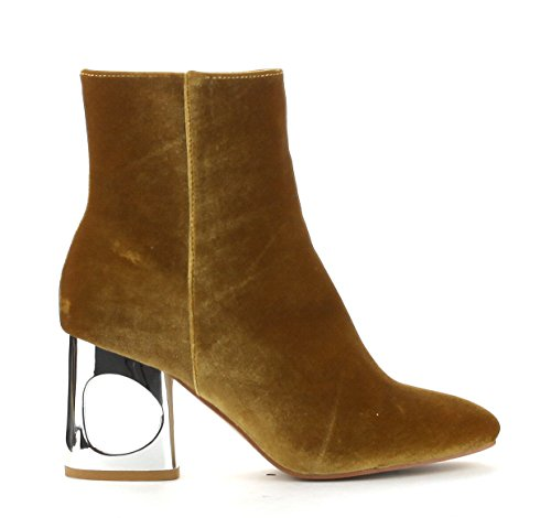 Cape Robbin Carla Chic Cutout Block Metal Heel Velvet Ankle Bootie Gold OgwFyuP0v