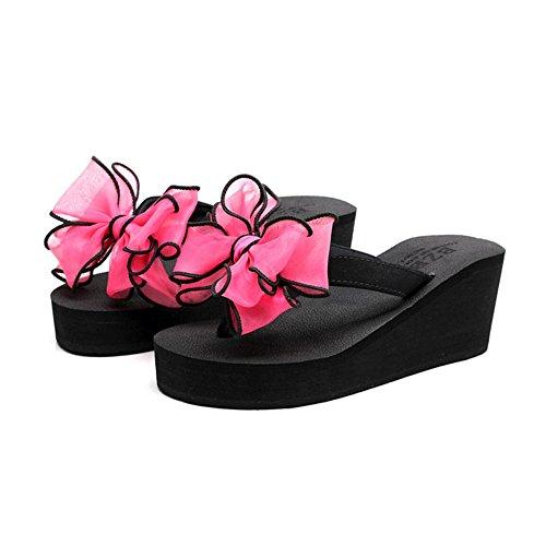 Hauts Tongs Sandales Antidérapantes Chaussures Redonblack Bow Mode à Été Et Talons Sweet à Pantoufles Femme Semelles à Chaussures Pantoufles CHENGXIAOXUAN Tongs Talons épaisses Hauts wqYFIg