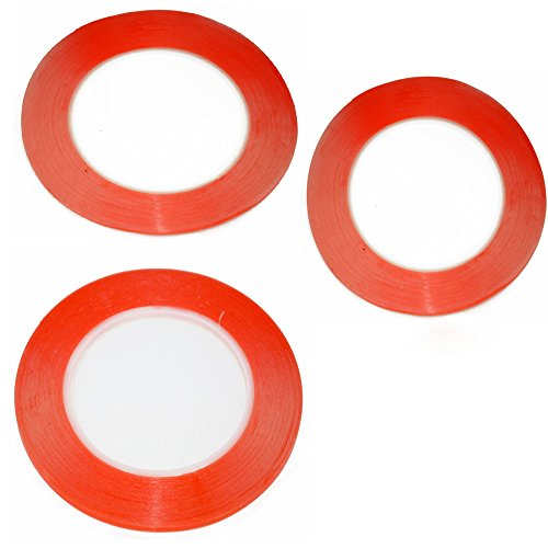 Housing Cell (3pcs/bag 25 meters Mixed size 1mm/2mm/3mm/ For 3M Double Sided Tape Sticky Red for Mobile Phone LCD Pannel Display Screen Repair Housing)