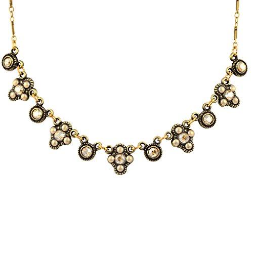 Anne Koplik Fancy 5 Fila Godlenshade Crystal Necklace, Antique Gold Plated Anne Koplik Jewelry
