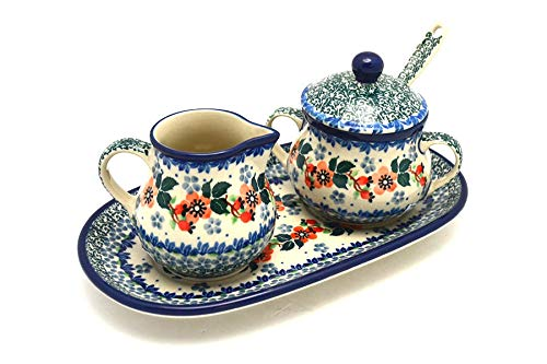 Blossom Time Sugar Bowl - Polish Pottery Cream & Sugar Set with Sugar Spoon - Cherry Blossom