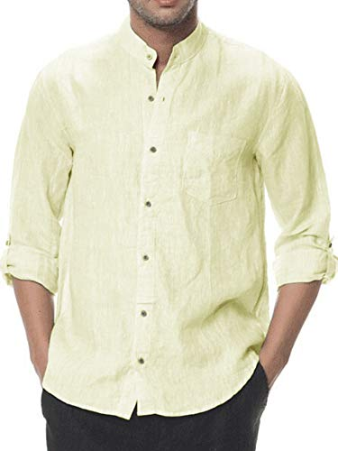Mens Linen Shirt Casual Button Down Long Sleeve Cotton Curved Hem Lightweight Basic Regular Fit Summer Beach Tops