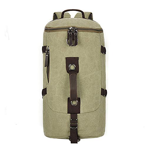 Men Bag Canvas Backpack Large Capacity Man Travel Bag Mountaineering Backpack 2 Sizes Back Pack,Light Green Small
