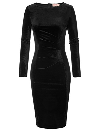 - Belle Poque Women's Crew Neck Long Sleeve Velvet Pencil Dress Black Size S BP744-1