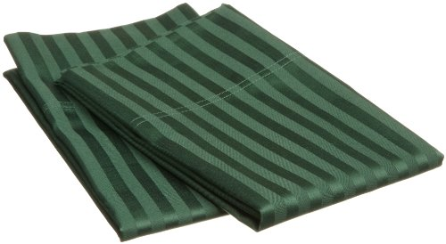 (Superior 100% Premium Soft Combed Cotton Pillowcase Cover Pair, Sateen Stripes, King - Hunter Green)