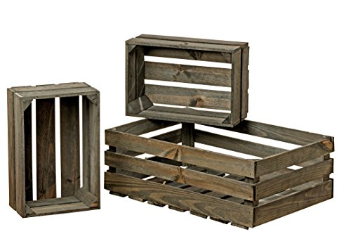 WHW Whole House Worlds Farmer's Market Wooden Fruit Crates, Set of 3, Rustic Grey, Sustainable Fir Wood, Nesting Rectangles, for Display, Storage, and More