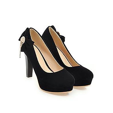 CXQ-Talons QIN&X Talon Bloc Femmes Talons Chaussures Bouche Peu Profonde à Tête Ronde,Black,33