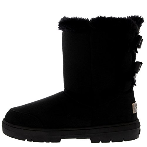 Tall Rain Boots Classic Snow Holly Womens Winter Waterproof Twin Black Bow tF6qH0w