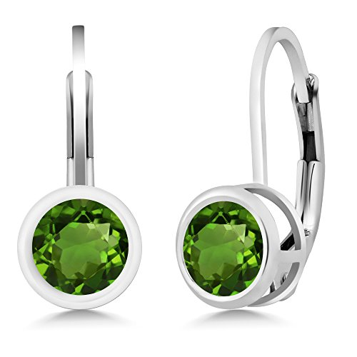 Gem Stone King 1.00 Ct Round Green Chrome Diopside 925 Sterling Silver Earrings
