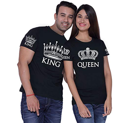 King Queen Couple Shirts Black ()