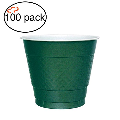 Tiger Chef Plastic Party Cups, 100-Pack Hunter Green, Solid Color 9 Oz Plastic Cups, Big Party Pack (9-Ounce, 100 Pack)