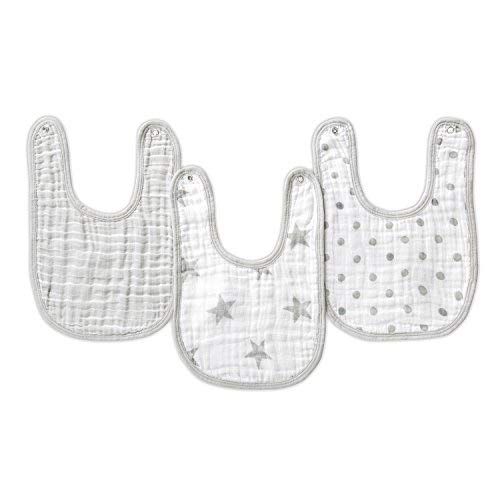 aden by aden + anais Snap Bib, 100% Cotton Muslin, Soft Absorbent 3 Layers, Adjustable, 9 X 13, 3 Pack, Dusty