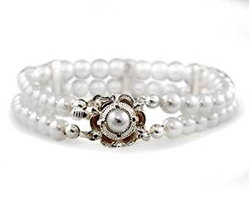 Double Strand White Faux Pearl & Silver Bracelet with Crystals & Flower - Bridesmaid Jewelry