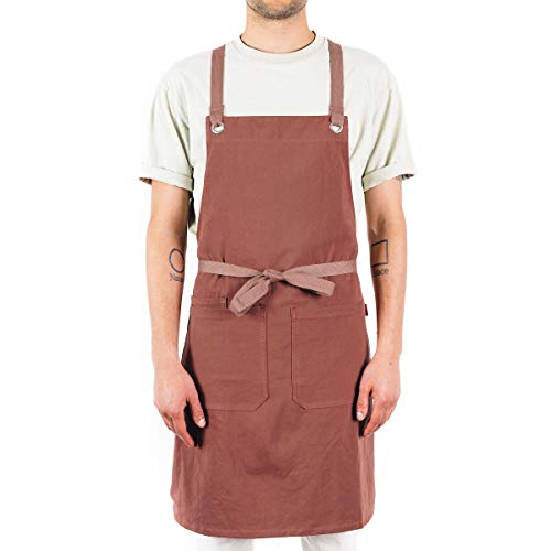 Caldo Crossback Kitchen Apron - Mens and Womens Professional Chef Bib Apron - Adjustable Crossback Style - Midweight Cotton (Terracotta)