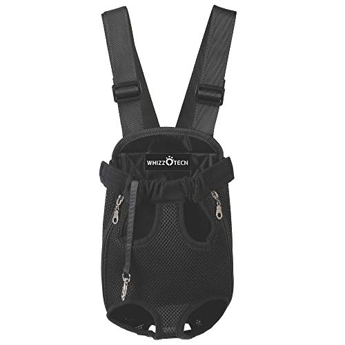Whizzotech Adjustable Pet Carrier Backpack Pet Frontpack Carrier Travel Bag Legs Out Easy-Fit for Traveling Hiking Camping PB03 (S, Black)