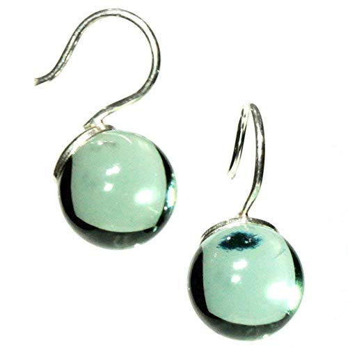 (Drop earrings for women sterling silver and glossy glass jewelry from a recycled Whisky bottle transparent)