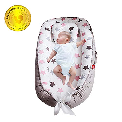 Baby Lounger, Volwco Removable and Washable Newborn Lounger, Portable Soft Breathable Newborn Infant Bed for Bedroom Travel (0-2 Years)