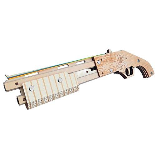 - Jaswass Rubber Band Gun Wooden Children Shotgun with Ammo Kids Indoor Outdoor Games and Pretend Play Toys