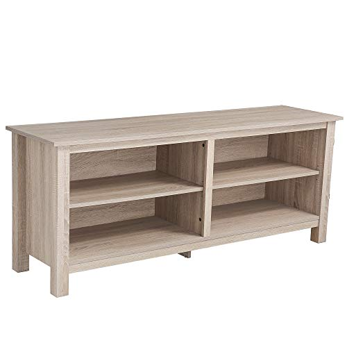 "Rockpoint Plymouth Wood TV Stand Storage Console, 58"", Natural"