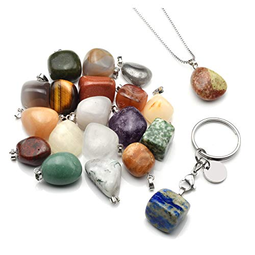 - CrystalTears Assorted Tumbled Gemstones Meteorite Fragment Mineral Rock Pendants Jewelry Making Charms Necklace Keychain - Random 20pcs Stones Collection Box