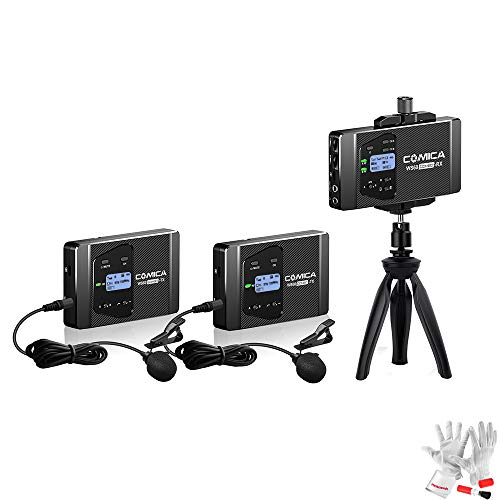 COMICA CVM-WS60 Combo 1-Trigger-2 Dual Transmitter and one Receiver Flexible Wireless Microphone, Universal for Smartphone/Camera, with 12 Channels, 60m Working Duration, Built-in Smartphone Holder