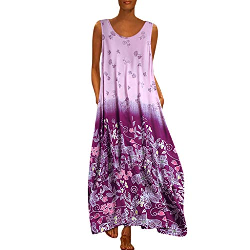 Aniywn Oversized Dress Women's Sleeveless Casual Print Floral Loose Party Long Dress Plus Size Purple