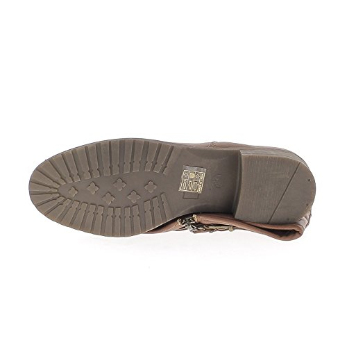 Taupe gefütterter Stiefel mit Absatz 3,5 cm Bi-material