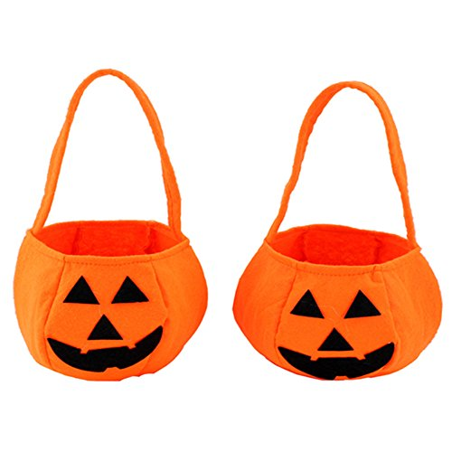 Aquarius CiCi Trick or Treat Bag Halloween Pumpkin Candy Bag Smile Pumpkin Bag Candy Tote Bags