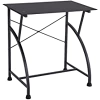 FIVEGIVEN Small Computer Desk Glass Office Desk for Small Spaces Modern Writing Desk Black for Home Office