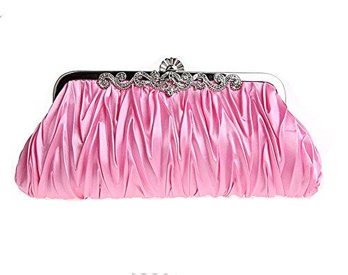 Elf of Bolsas - Evening Handbag Classic Satin Detachable Strap Pink Clutch