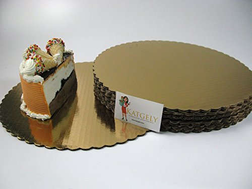 Katgely Gold Cake Board 14 Inch Round Give an Elegant Touch to Your Cakes (Pack of 15)