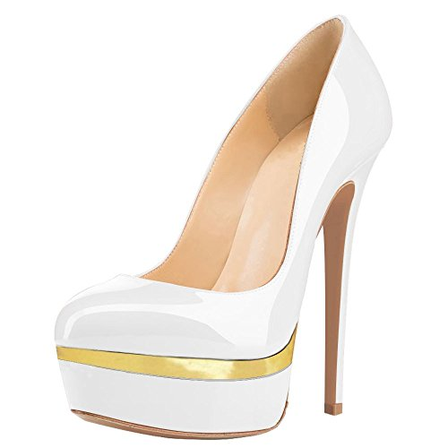 UMEXI Women Double Platform Pumps Closed Toe Stiletto High Heels Dress Shoes White and Gold Size 8