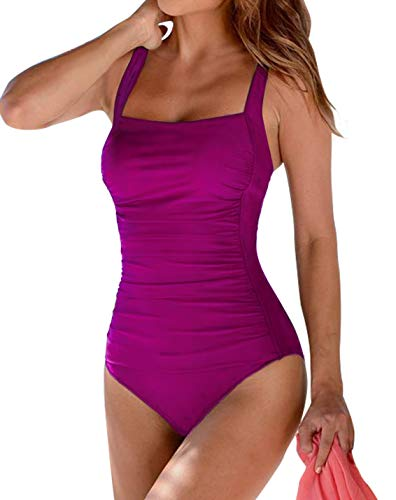 Upopby Women's Vintage Padded Push up One Piece Swimsuits Tummy Control Bathing Suits Plus Size Swimwear Rose 8