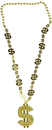 $ Beads w/ $ Medallion Party Accessory (1 count) (1/Card) (Medallion Bead Necklace)