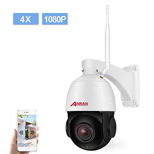 PTZ Wireless WiFi Security IP Camera 1080P HD Pan Tilt 4XOptical Zoom Auto Focus Home Surveillance Dome Weatherproof in/Outdoor Camera with 32GB Micro SD Card,Two-Way Audio,Support 2.4GHZ WiFi ANRAN (Best Autofocus Camera App)