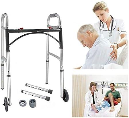 KUYT Andador para Ancianos, Adultos, Mayores O Minusválidos, De Acero, Ligero, Plegable, con Asiento Y 2 Ruedas,Ajustable En Altura Andador para Ancianos