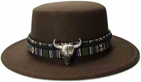 158f30f7 Vintage Wool Wide Brim Cap Pork Pie Porkpie Bowler Hat Bull Head Leather  Band (57cm