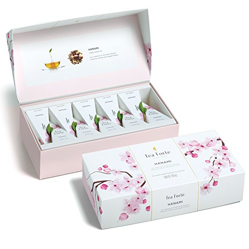 Tea Forté Petite Presentation Box Tea Samplers, Assorted Variety Tea Box, 10 Handcrafted Pyramid Tea Infusers (Hanami)