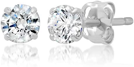 14k Solid Gold ROUND Stud Earrings with Genuine Swarovski Zirconia | 0.50 to three.0 CTW | With Gift Box