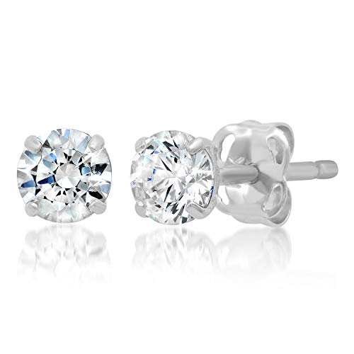 14k Solid White Gold ROUND Stud Earrings with Genuine Swarovski Zirconia | 0.50 CT.TW. | With Gift Box
