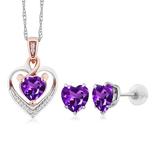10K White Gold Heart Shape Purple Amethyst and Diamond Pendant Earrings Set