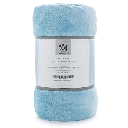 Soft Travel Blanket - Kingole Flannel Fleece Microfiber Throw Blanket, Luxury Light Blue Travel/Throw Size Lightweight Cozy Couch Bed Super Soft and Warm Plush Solid Color 350GSM (50