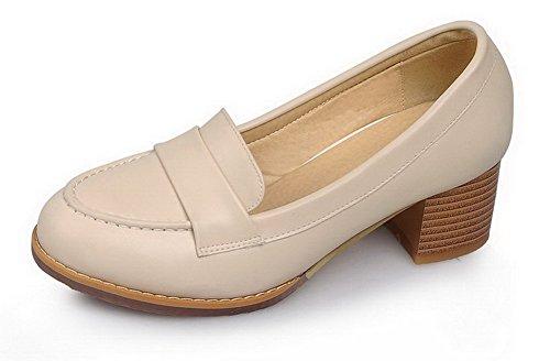VogueZone009 Damen Mittler Absatz Blend-Materialien Rein Ziehen auf Pumps Schuhe Aprikosen Farbe